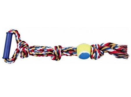 Bawełniany sznur z piłką, supłami i rączką - 6/50 cm