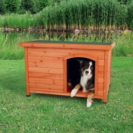 Buda dla psa z płaskim dachem w kolorze jasnobrązowym - rozmiar S