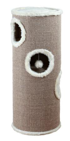 Czteropoziomowy drapak w formie wieży, tuba z zabawkami – szarobrązowy i krem
