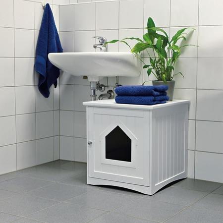 Domek z drzwiami magnetycznymi do wstawienia otwartej kuwety dla kota - biały