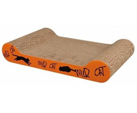 Drapak tekturowy dla kota wyposażony w legowisko