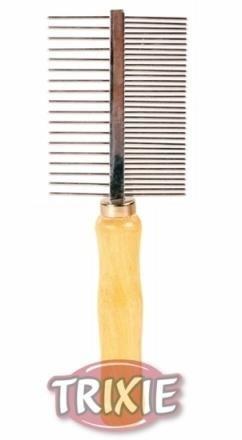 Grzebień podwójny o dwóch rozstawach ząbków - drewniany