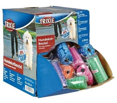 Kolorowe woreczki na psie odchody - 20 sztuk w rolce