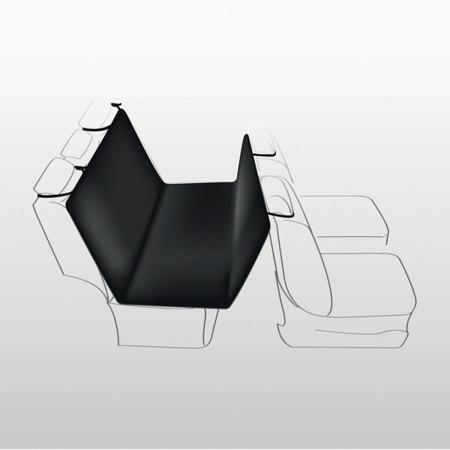 Mata samochodowa z flauszu na tylną kanapę auta - czarna w beżowe łapki - 140x145 cm