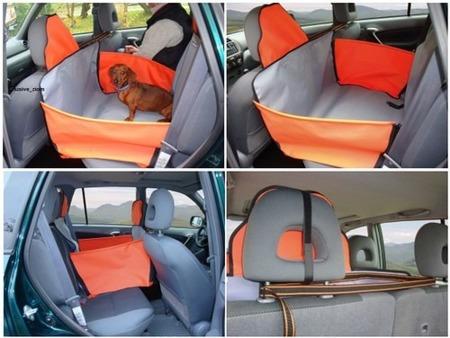 Mata samochodowa z bokami i ochroną zagłówków na dwa siedzenia brązowo zielona