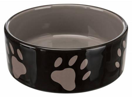 Miska ceramiczna brązowa w beżowe łapki 300ml