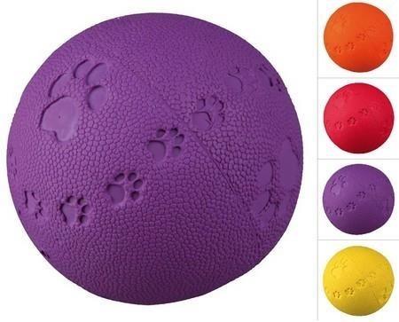 Piłka kauczukowa z wytłaczanymi łapkami - 6 cm