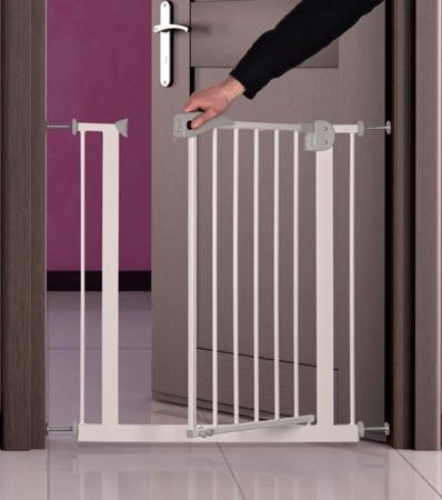 Regulowana, rozporowa barierka do futryny dla psa - biała