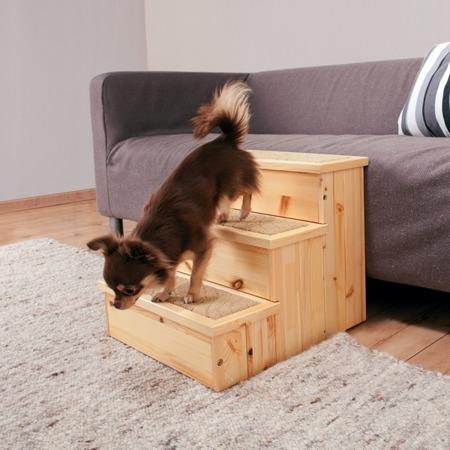 Drewniany podest ze schowkami w schodkach - 40x38x45 cm - do 50 kg