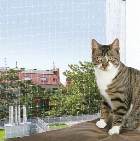 Siatka z nylonu chroniąca kota przed wypadnięciem - 2x1,5 m - transparentna