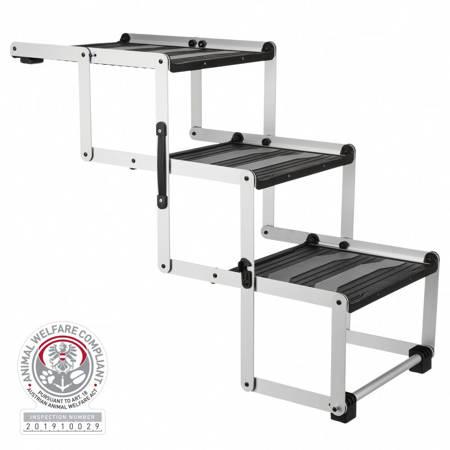 Składane schody dla psa potrójnie, aluminium/TPR, z regulacją bieżnika na dwie wysokości - 37×57×120cm - do 75 kg