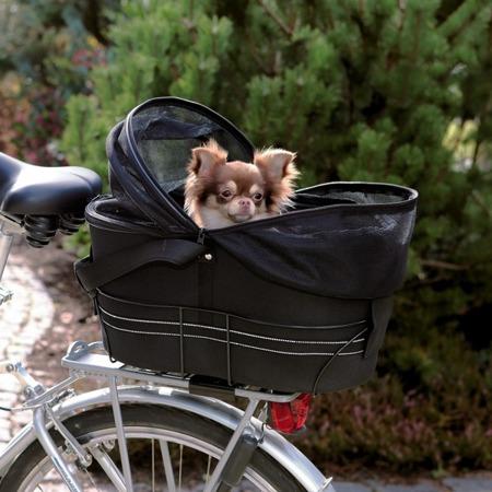 Torba bagażnikowa z siatkowym zamknięciem na rower dla psa